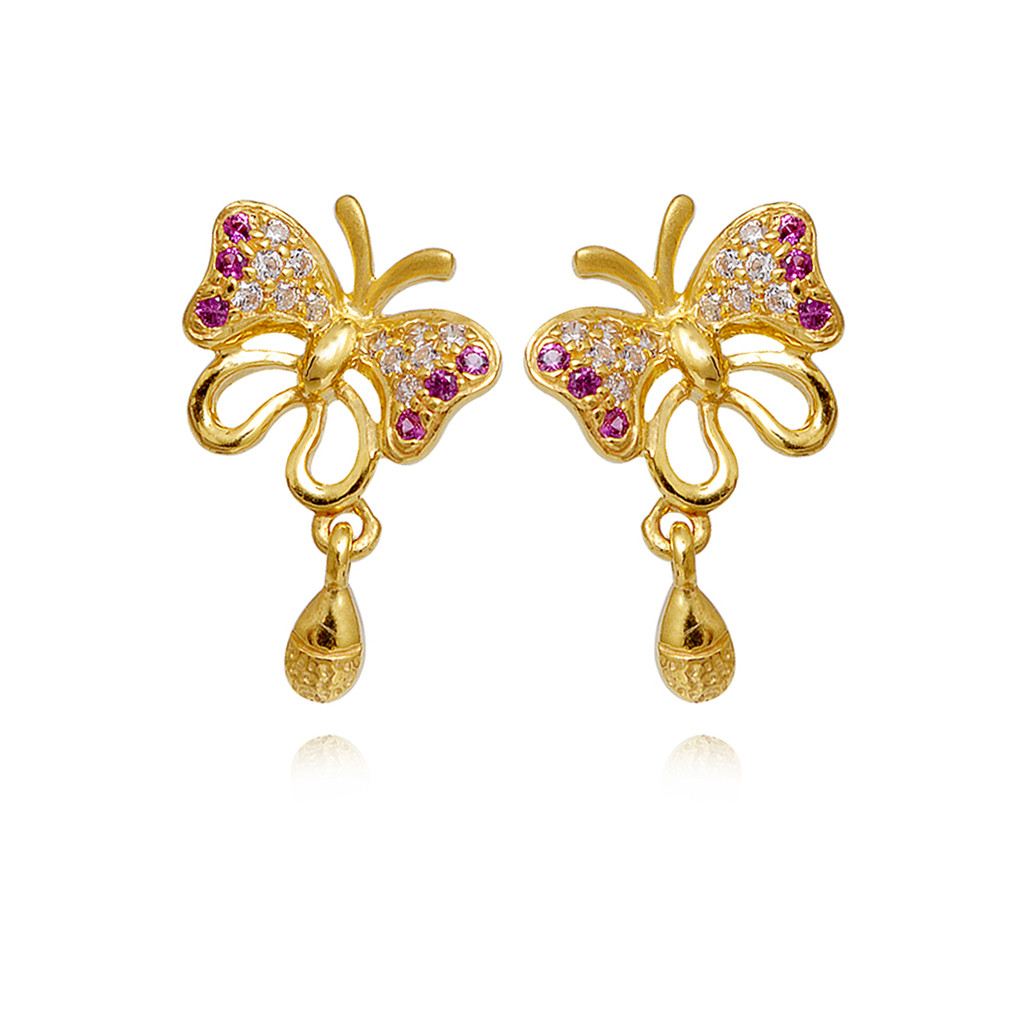 Day-Flying color stone Butterfly Gold Earring