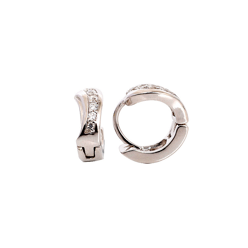 Elegant design silver micro pave Hoop Earrings