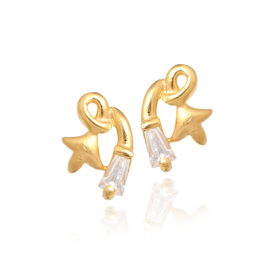 gold earring studs 22kt-gold-baby-flowe