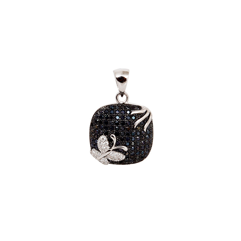 Micro Pave Butterfly Silver Pendant