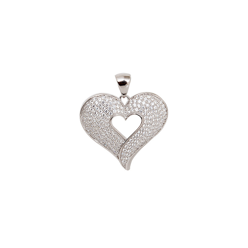 Sterling Silver Heart Pendant With White Stone