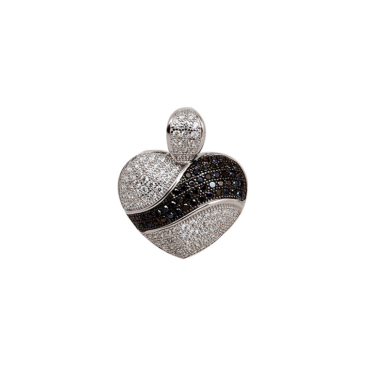 Sterling Silver Micro Pave Heart Pendant Centered White/ Black Stones