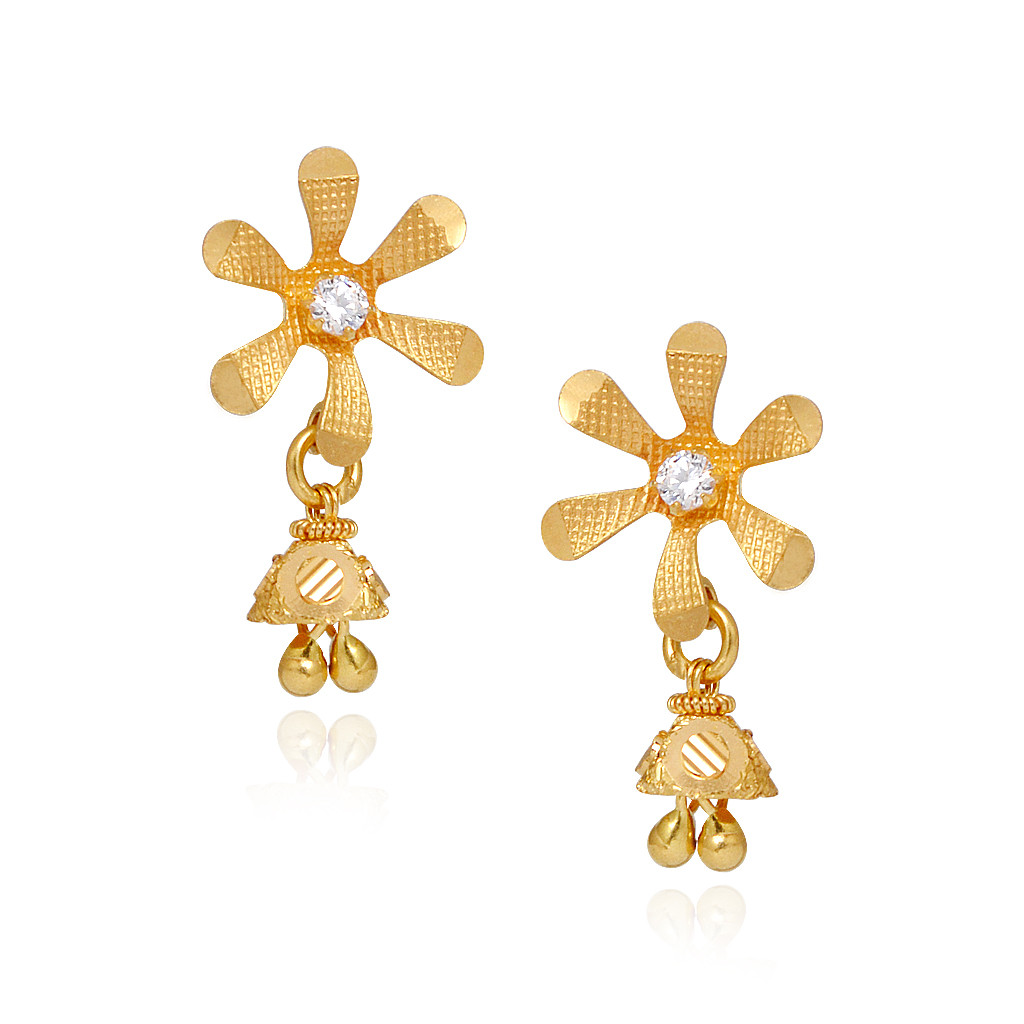 Glossary Flower Gold Earrings