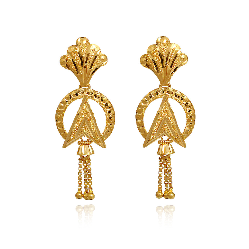 Light Weight Jewellery Indian Gold Stylish Earrings