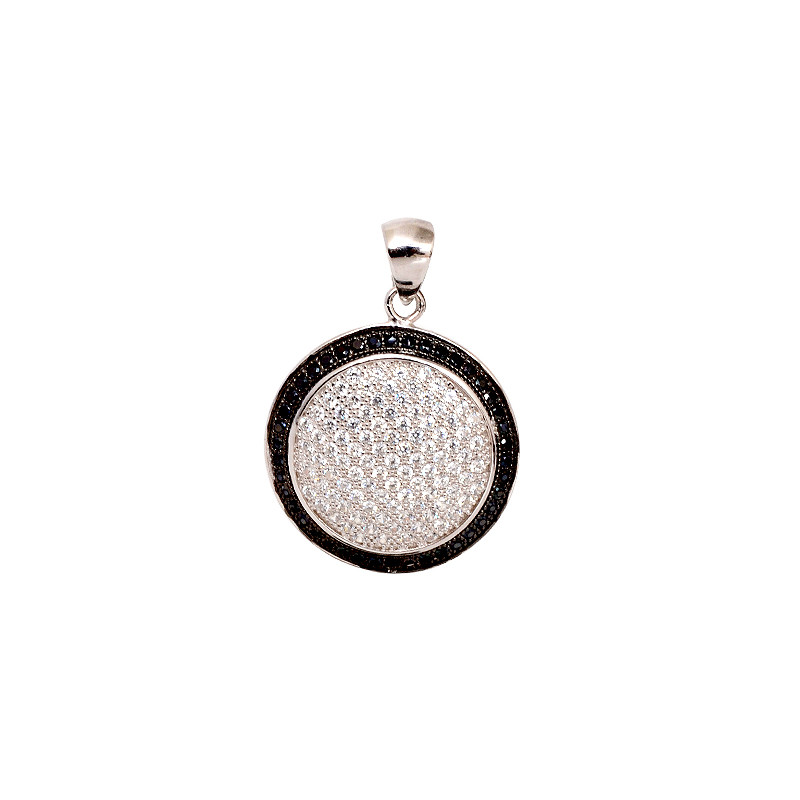 925 Sterling Silver Micropave Black Spinel & White CZ Pendant