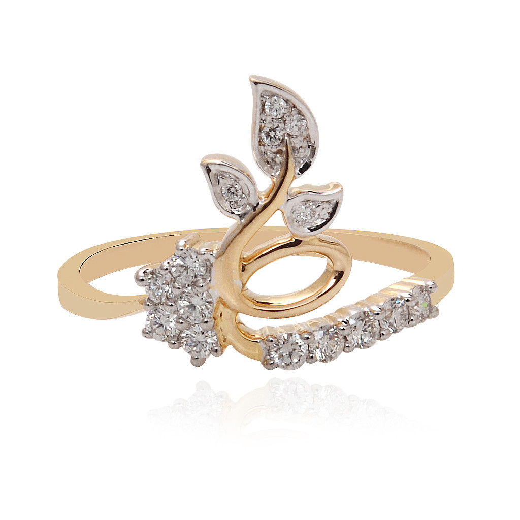 Feather Petal Twist Diamond Ring