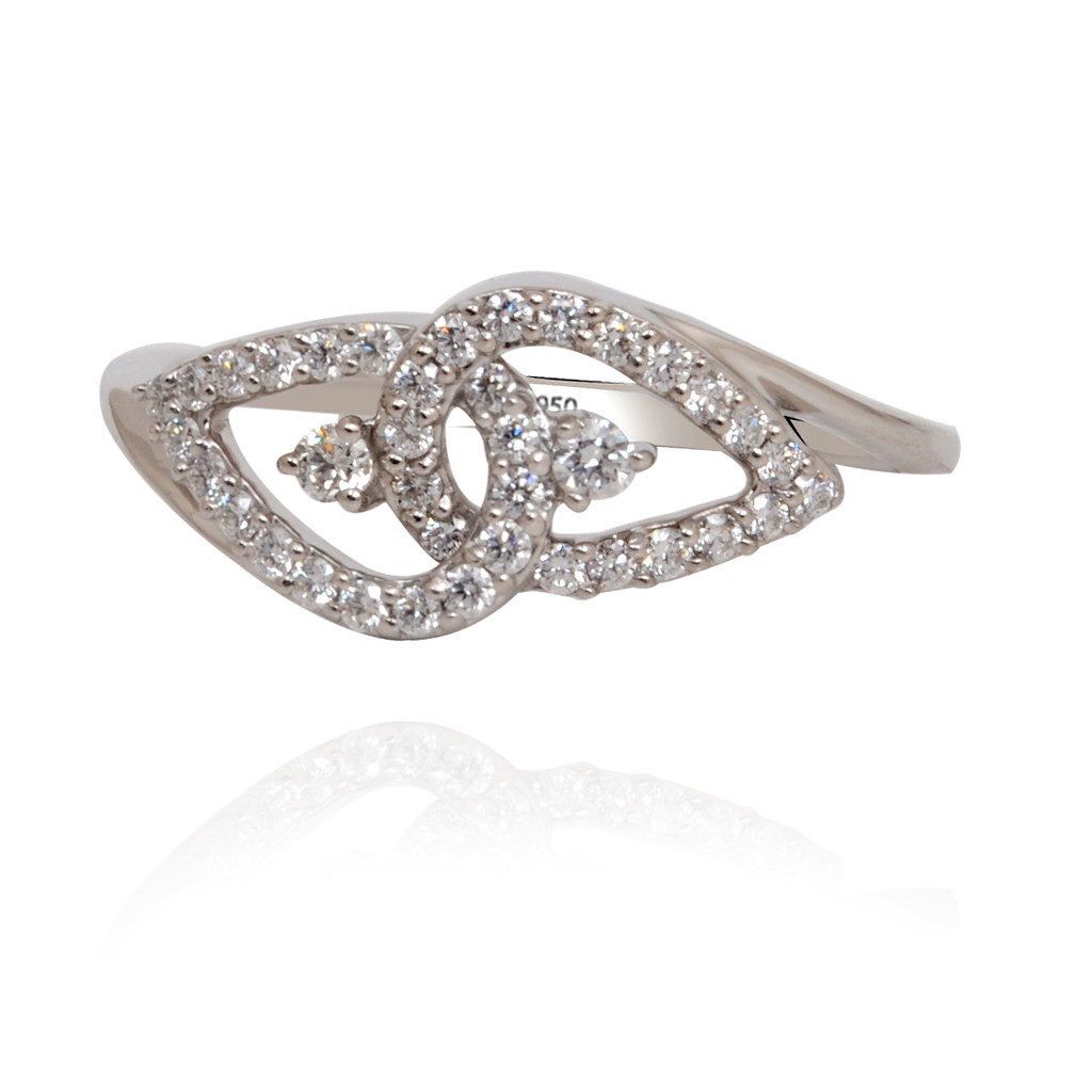 Twisted Leaf Platinum Ring