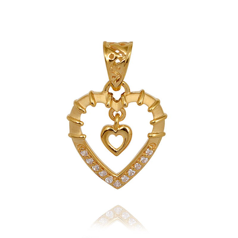 22 Kt Twin Heart Gold Pendant