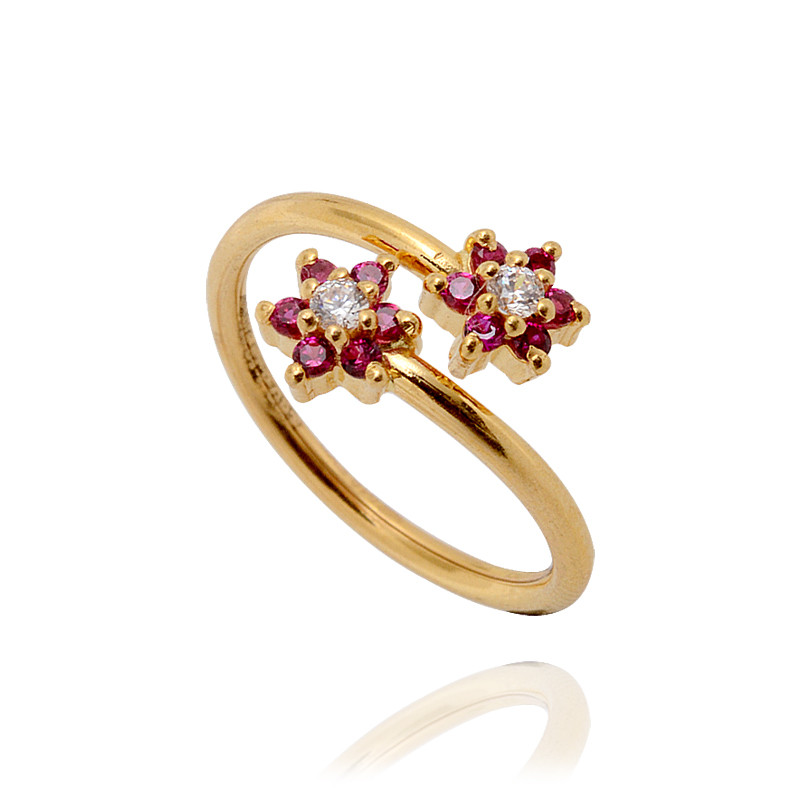 22KT Red Flower Gold Spiral Ring