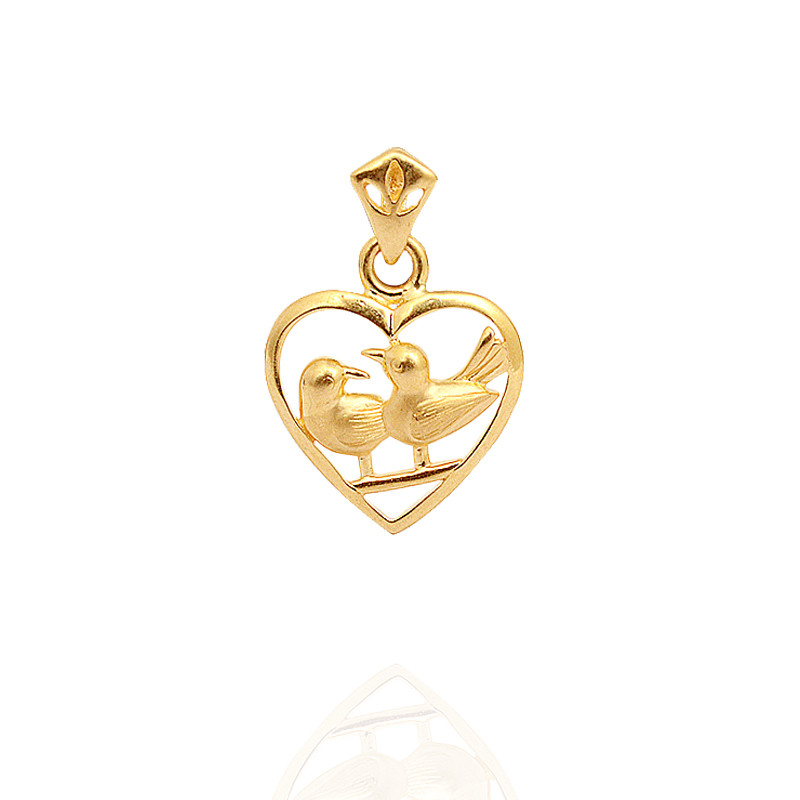 Heart Love Birds Gold Pendant