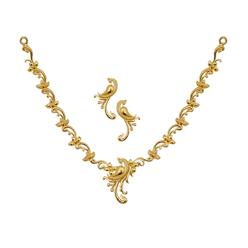 necklace fancy gold peacock necklace set grt jewellers
