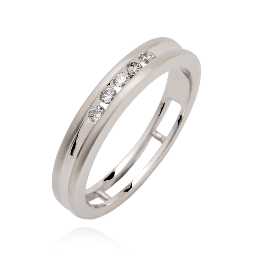 Five stone channel Platinum Ring