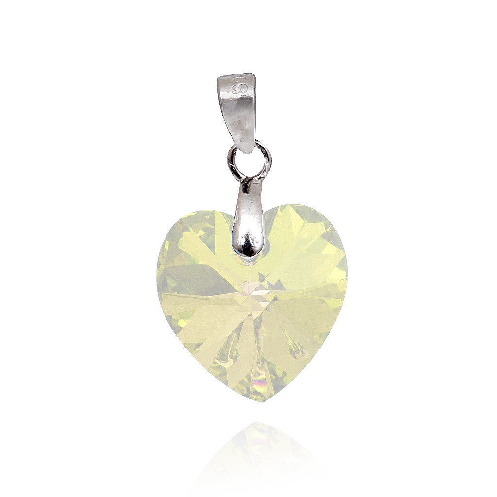 Light Yellow Crystal Heart Silver Pendant Set
