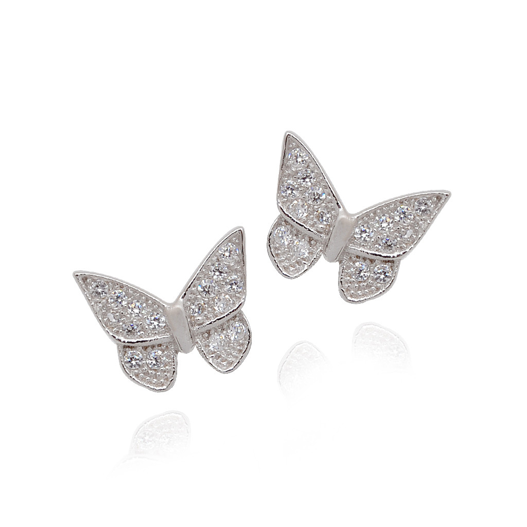 White Stone Studded Butterfly 925 SIlver Earrings