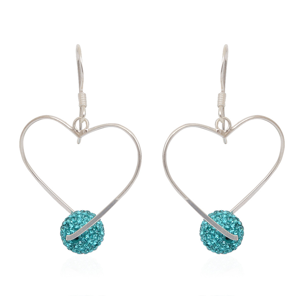 Gorgeous Silver Heart With Hanging Blue Ball Earrings
