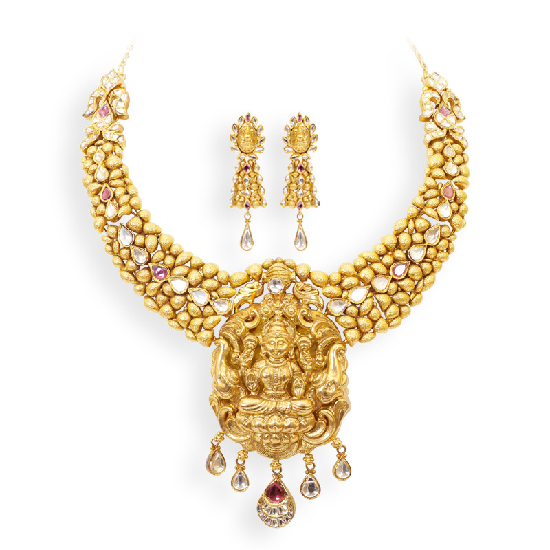 Beautifully Crafted Handmade Lakshmi Pendant Gold Necklace set
