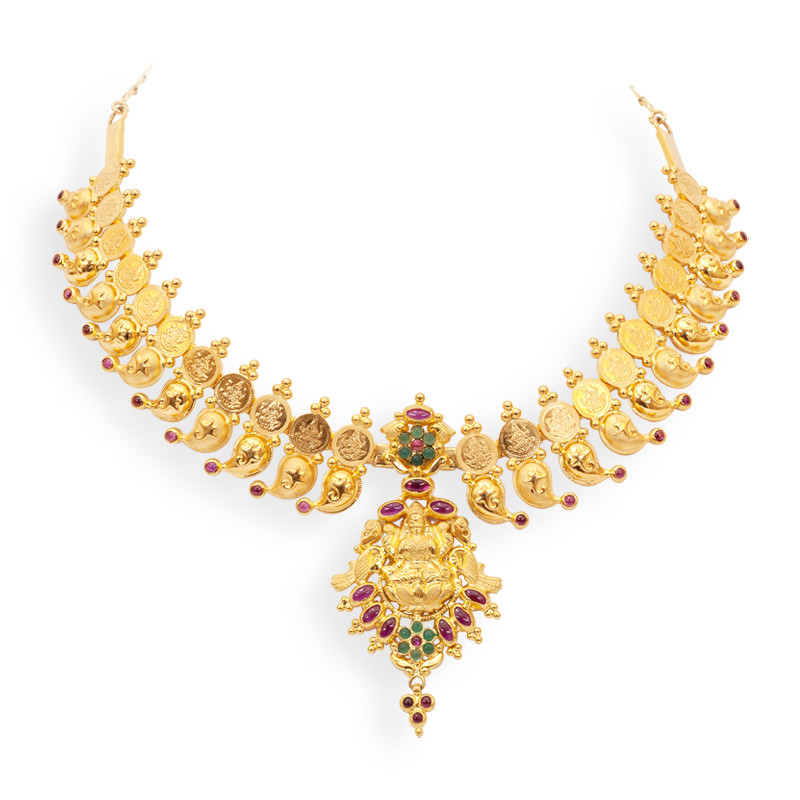 Necklace Lakshmi Kaasu Malai with Kempu Stones and - Gold Jewellery Design Necklace Sketches