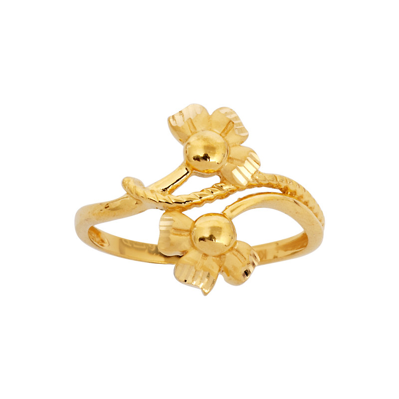 Double Flower 22KT Gold Ring