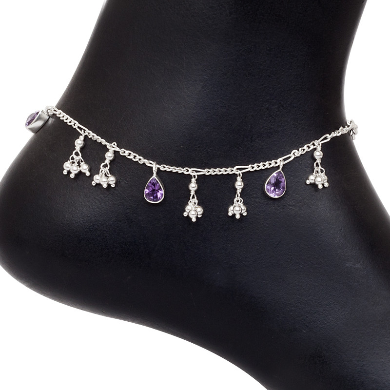 Silver Anklet With Amethyst
