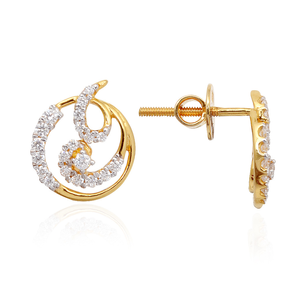Classic Round Shape With Spiral Finishing Diamond Earrings