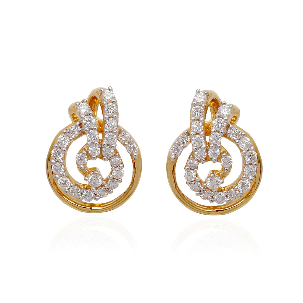 Earrings Classic Circle With Spiral Finishing Diamond
