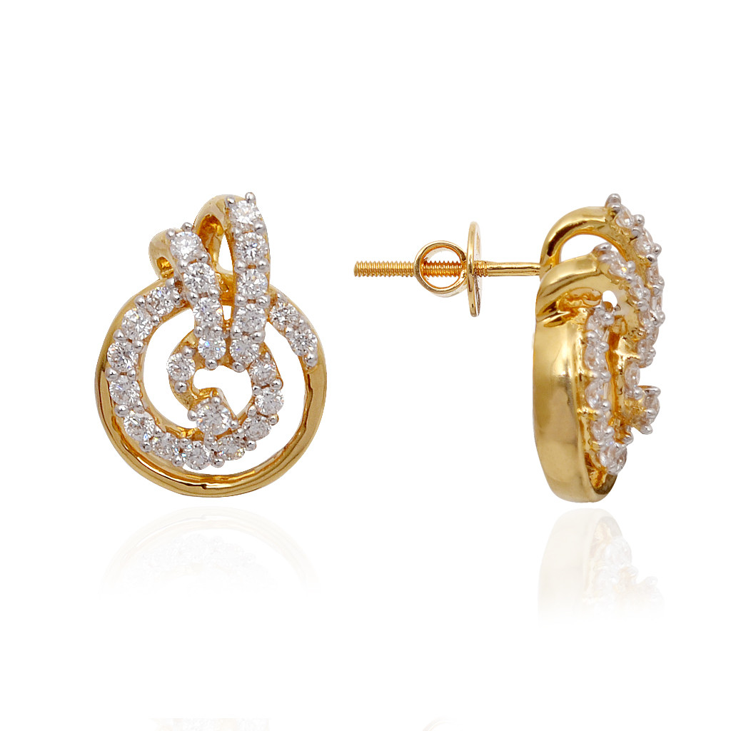 Classic Circle With Spiral Finishing Diamond Earrings