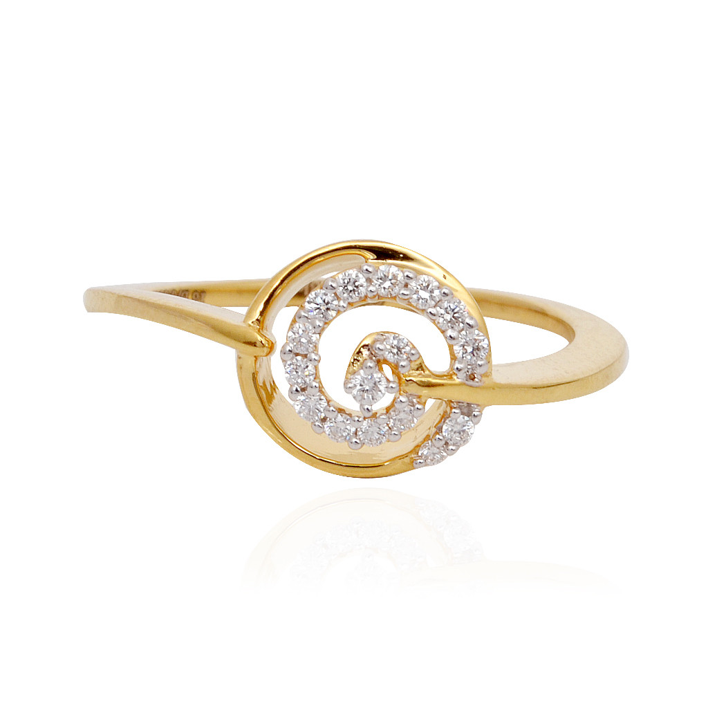 Classic Round Shape With Spiral Diamond Ring