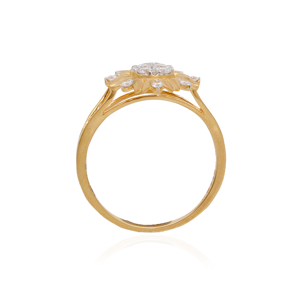Dahlia Gold Ring WIth Diamond Pressure Setting