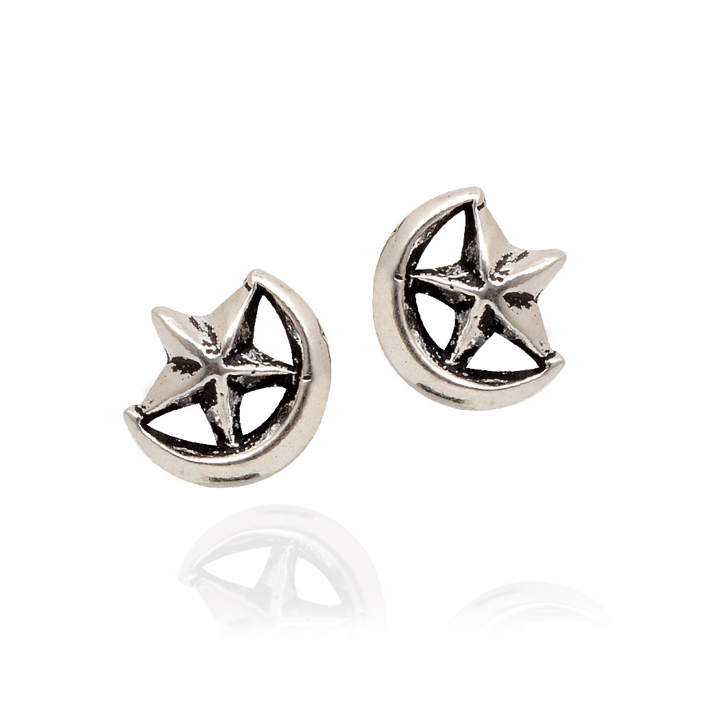 Moon Star Silver Earrings