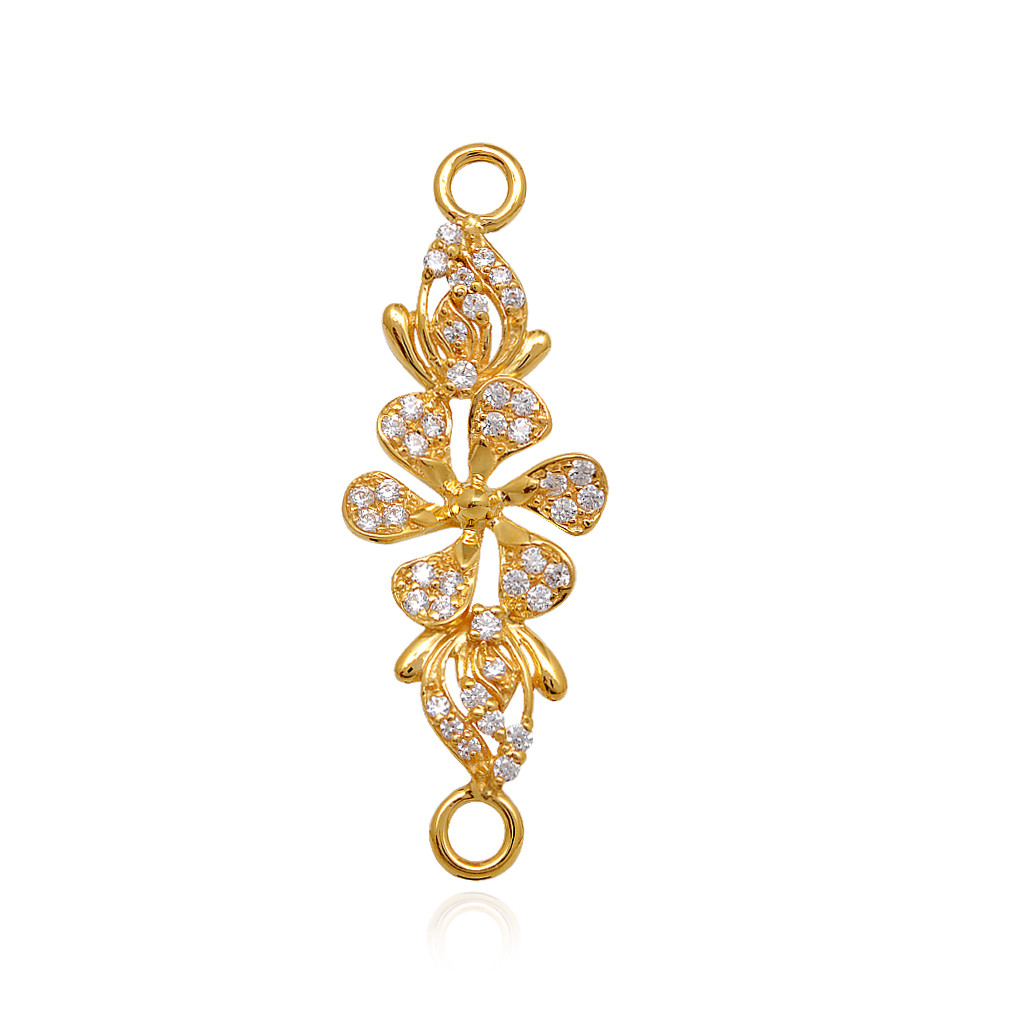 Gold necklace designs in grt jewellers -  Blossom Daisy Flower With White Stone Studded Gold Mugapu