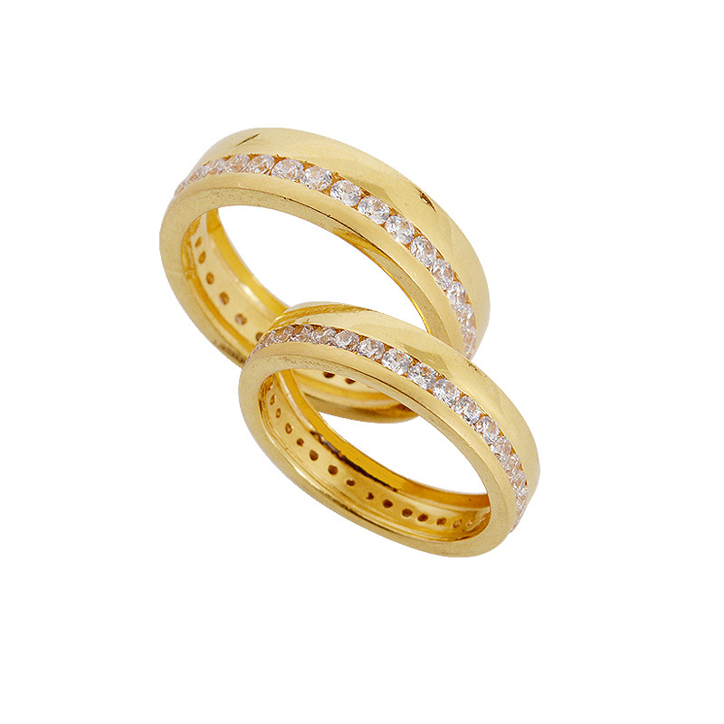 channel set gold wedding band