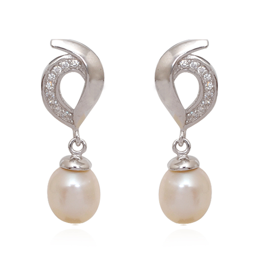 Fancy Pearl Drop With Hanging Silver Pendant Set