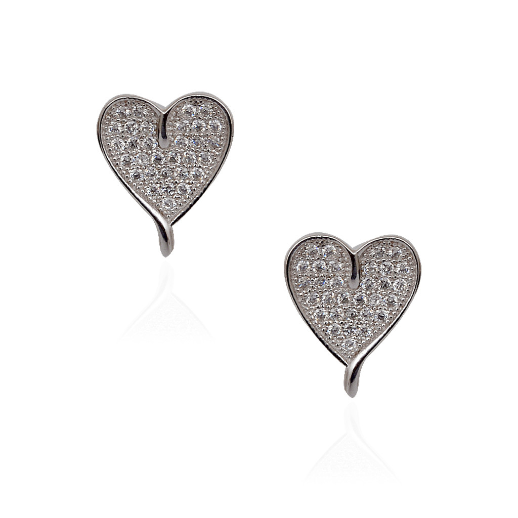925 Love Heart Silver Earrings