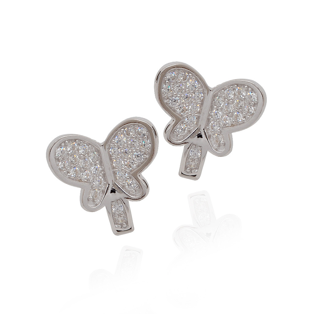 Beautifully White Stones Finish Butterfly Silver Earrings