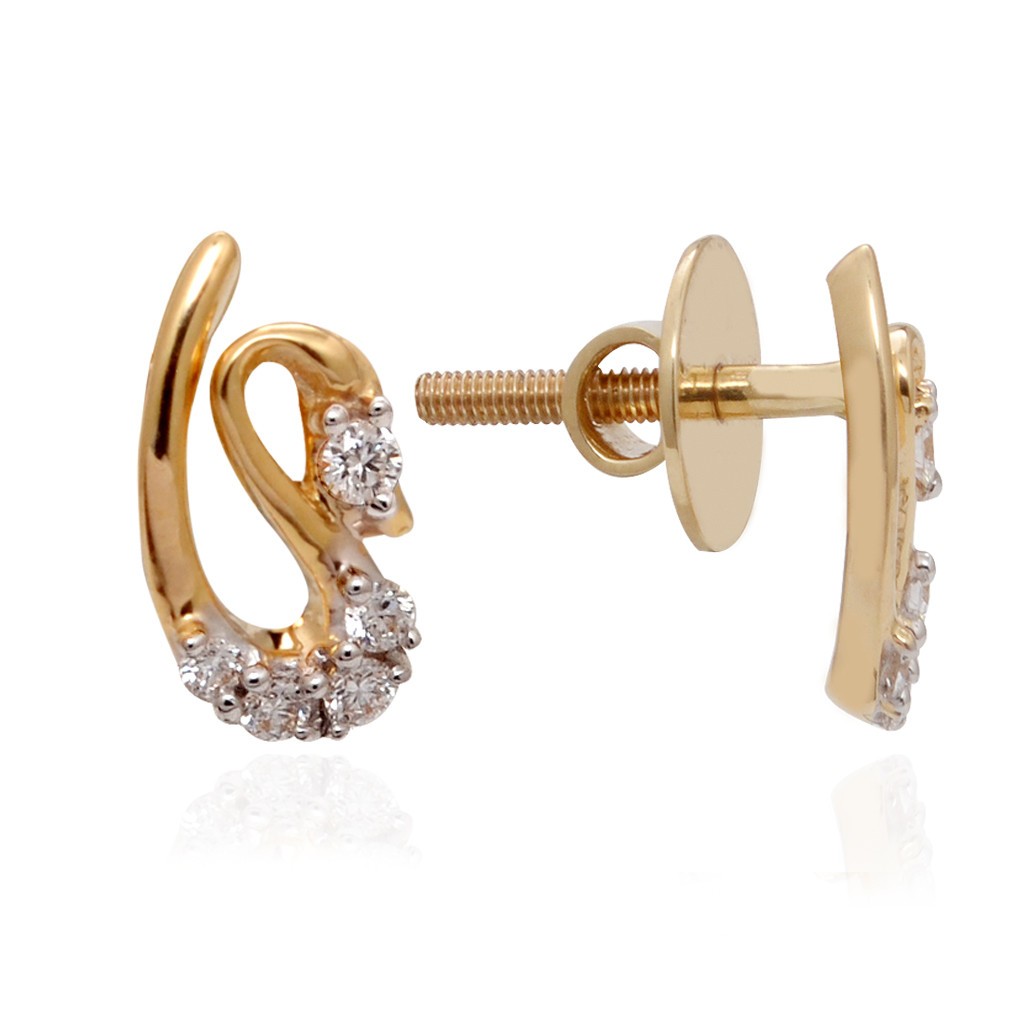 Stone Studded Gold Swan Stud Diamond Earrings