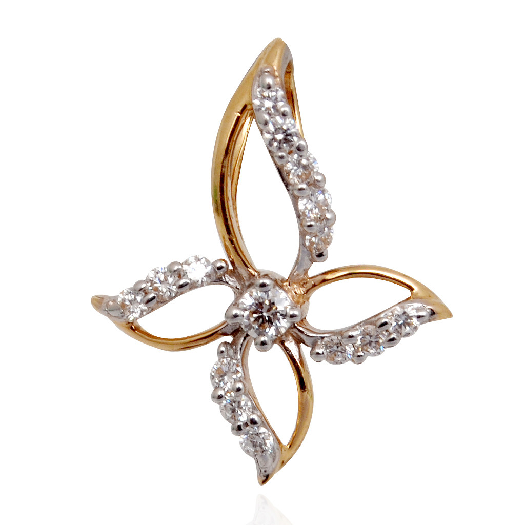 Sparkled Flowery Shape Diamond Pendant