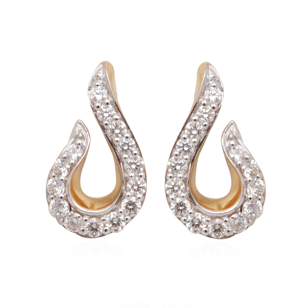 Sparkling Hook Shape Diamond Earrings