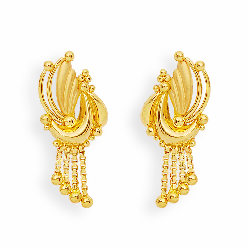 Gold Feather and Balls Earrings