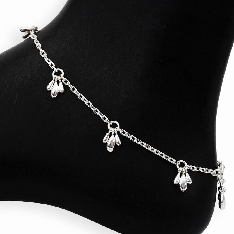 Link Chain Silver Anklets with Beed Charms