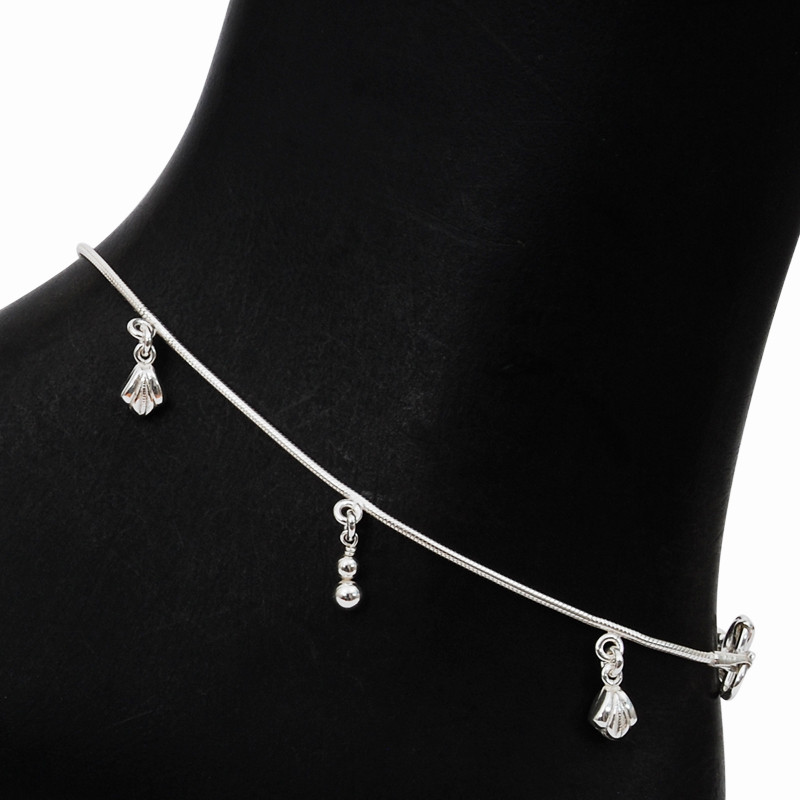 Cute Ball Charm Silver Anklet