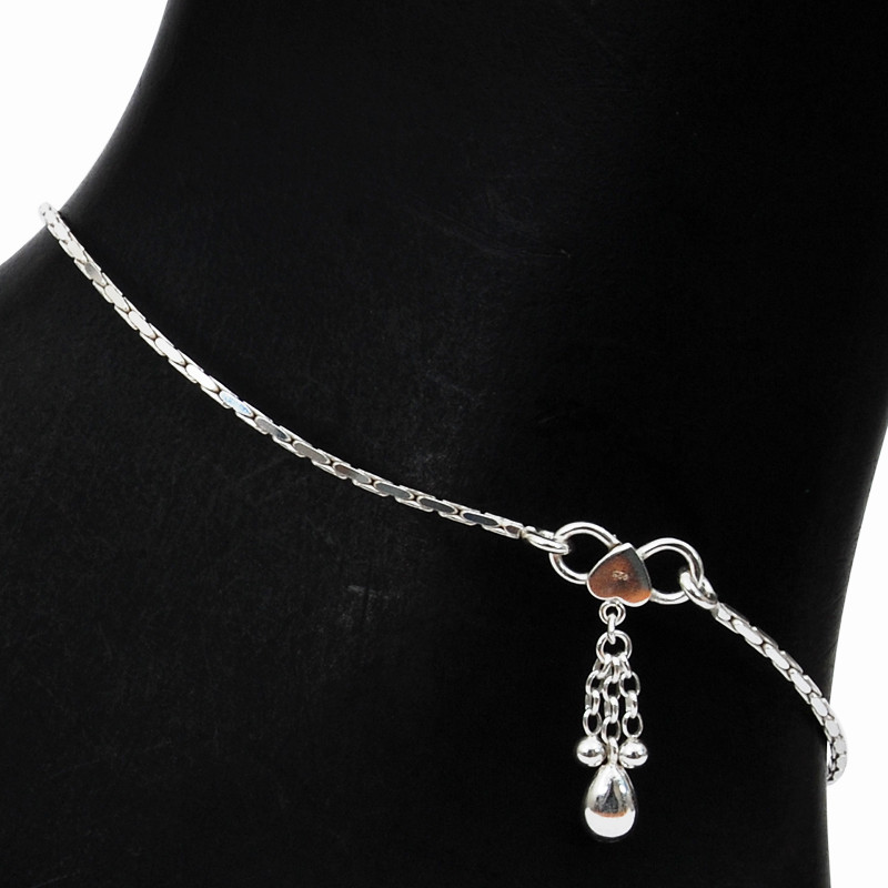 Curb Link Silver Anklets