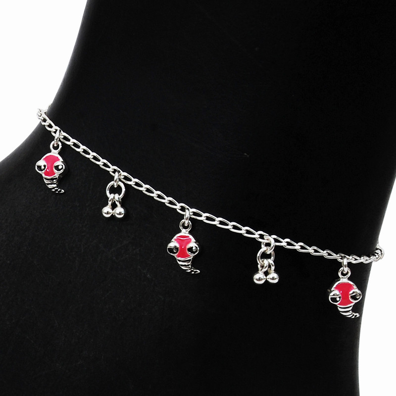 Cute Enamel Dolphin Charms Silver Anklet