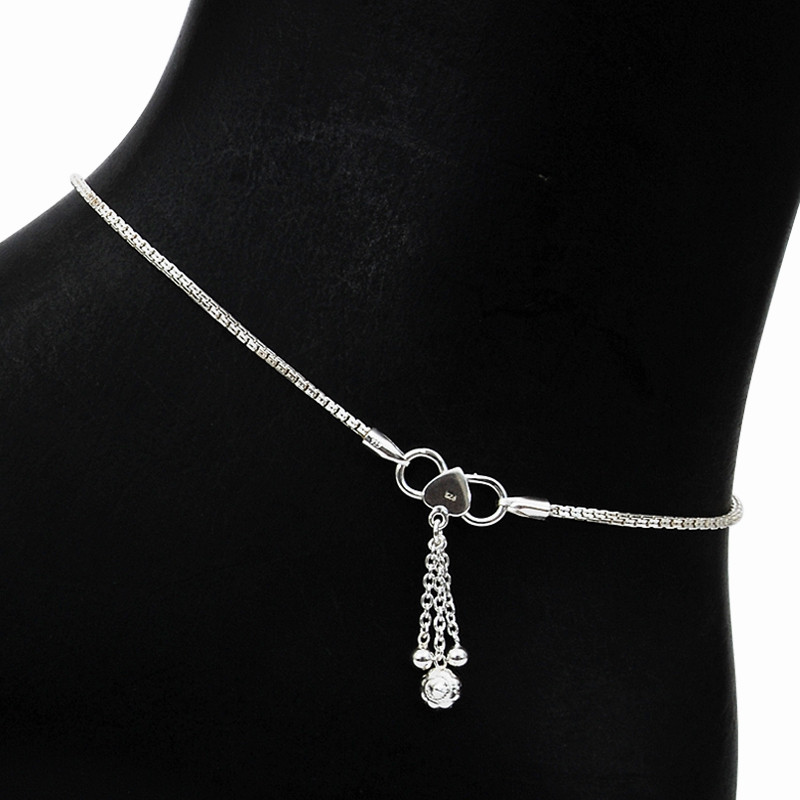 Slim Chain Silver Anklet with charms