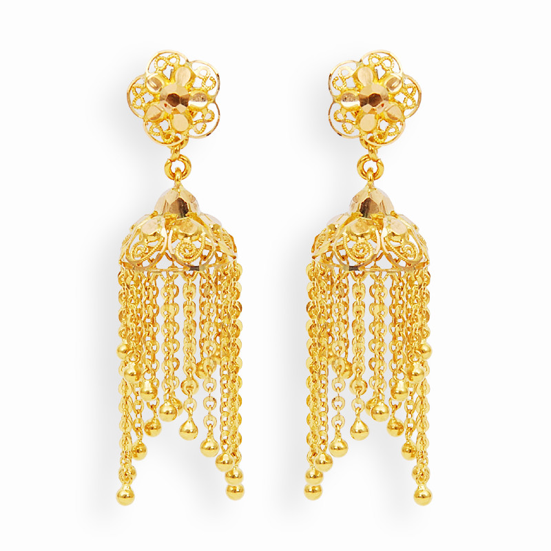 Earrings Gold Jimikki With Hangings Grt Jewellers