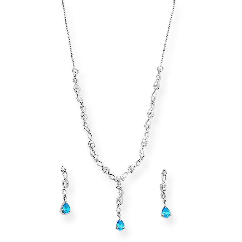 Blue Drop Satin Finish Silver Necklace Set