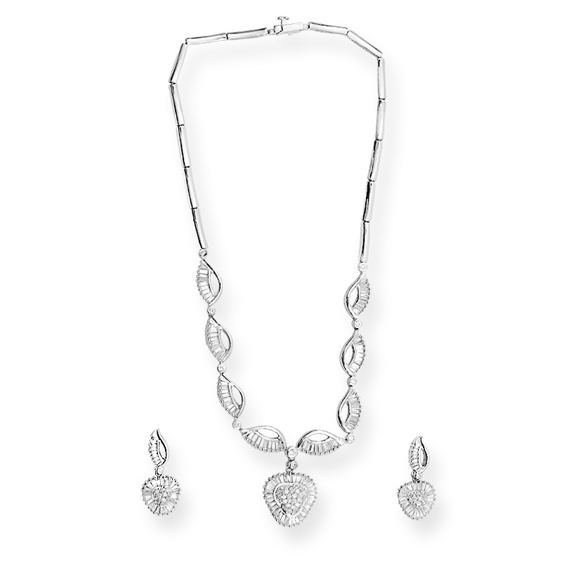 Fins Design Baguette Stone Silver Necklace Set