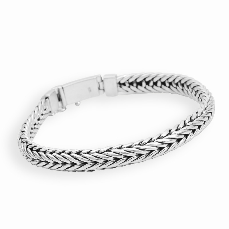 Mens Silver Bracelet With Oxide Finish