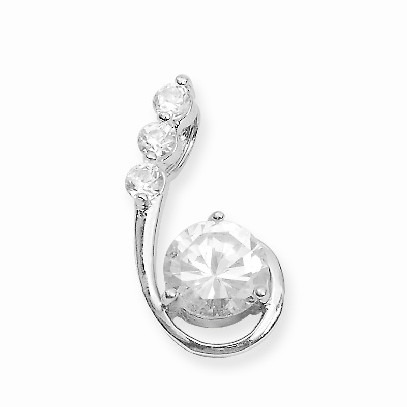 Solitaire Loop Silver Pendant