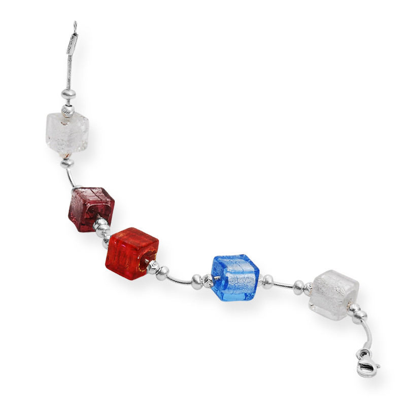 Cute Cube Crystal with Silver Beeds Bracelet