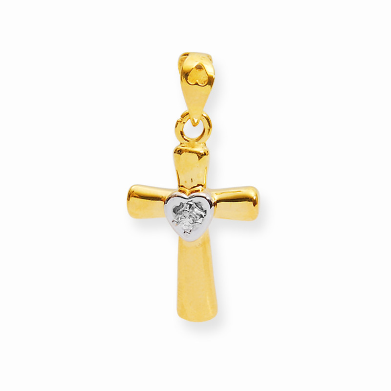 Gold Heart And Cross Pendant